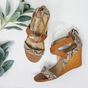 KENNETH COLE Ava Reptile Print Wooden Wedge Sandal